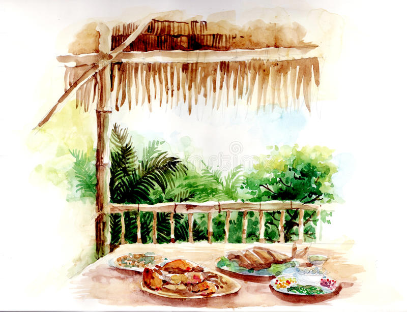 Water color painting of thai food in bamboo architecture vector illustration