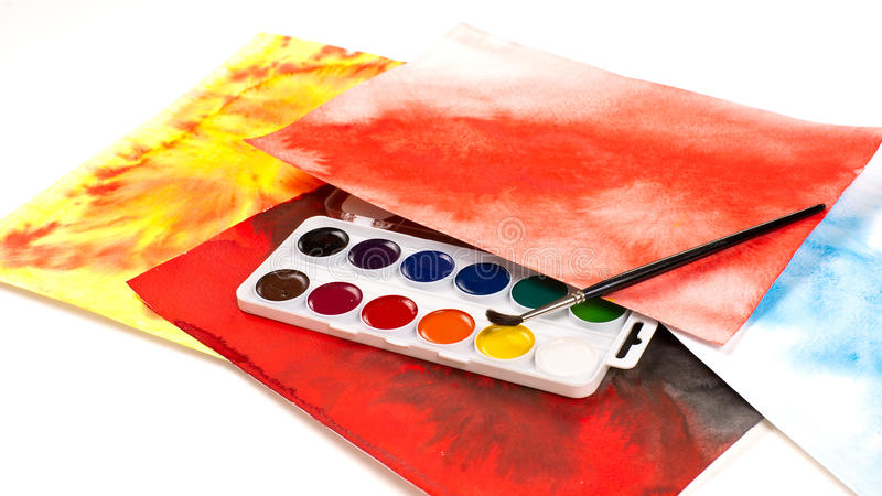 Water color paints stock photo
