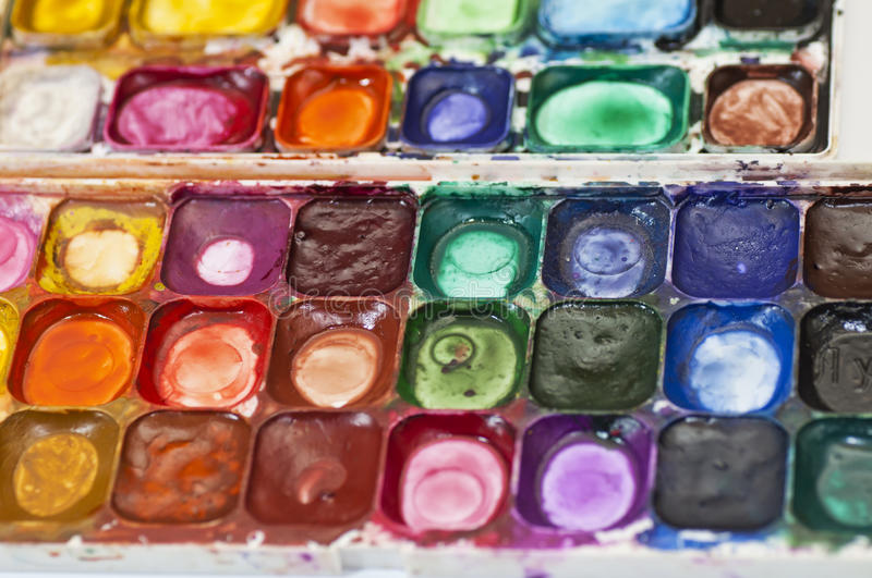 Water color paints. Professional watercolor aquarell paints in box with brushes stock photography