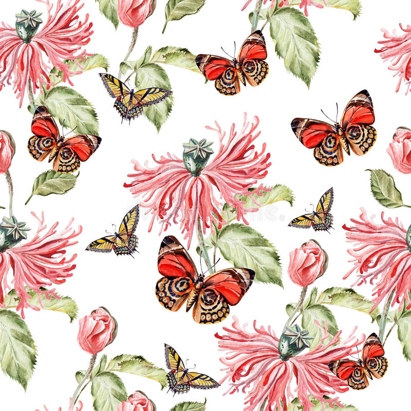 Water color pattern with poppy flowers and butterflies. vector illustration