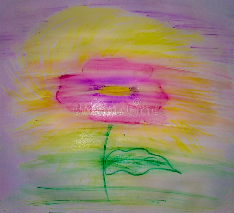 Water color simple kindergarten flower drawing . Easy to make flower. Water color simple kindergarten flower drawing . Easy to make flower . Kids drawing , pink royalty free stock images