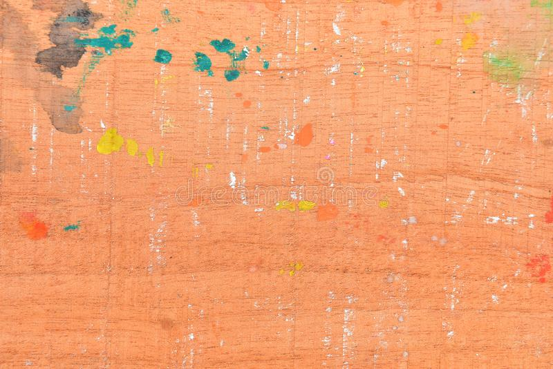 Water color on wooden floor, abstract multicolor on old wooden texture background, Abstract painting on wooden background royalty free stock photography
