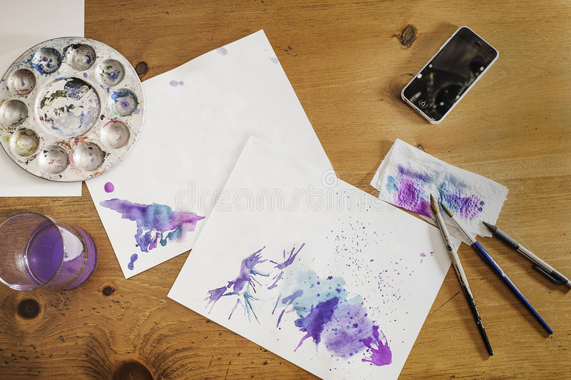 Download Water Color Workstation stock photo. Image of paper, watercolor - 45582312