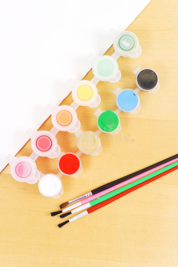 Water Colors And Paint Brushes Royalty Free Stock Photos
