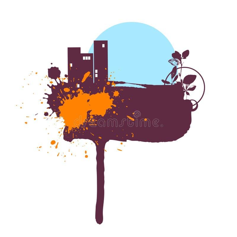 Water-colour 9 de tache des textes illustration de vecteur