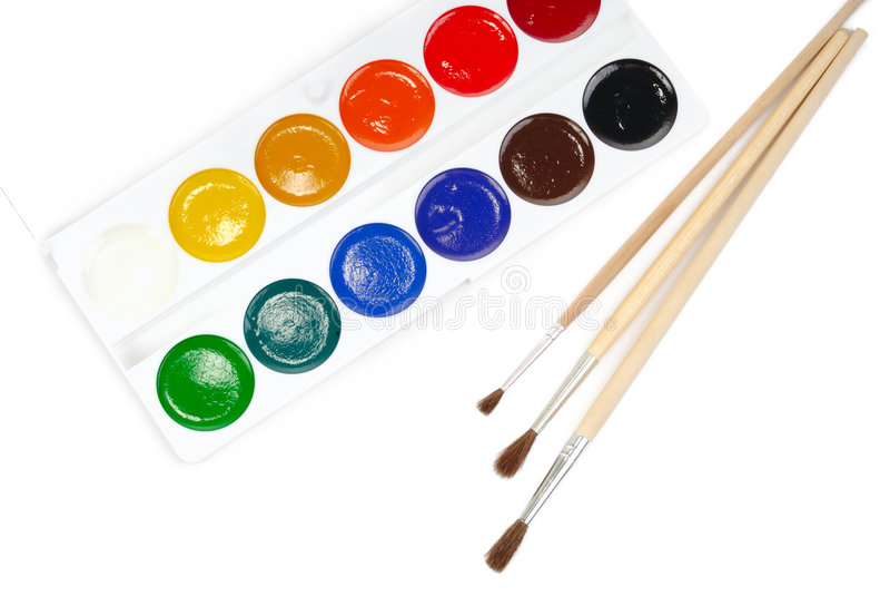 Water-colour e tre spazzole immagine stock libera da diritti
