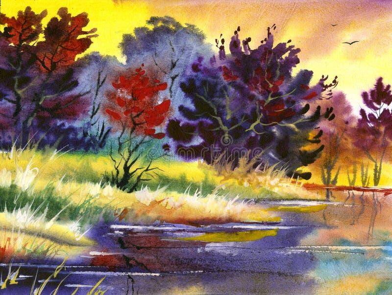 Water colour landscape stock image
