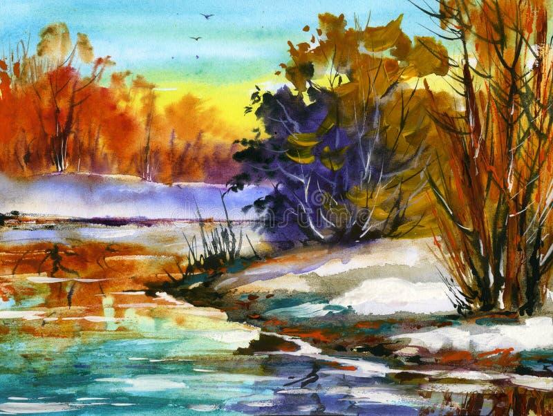 Water colour landscape stock photo