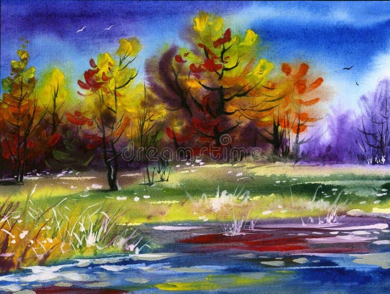 Water colour landscape stock images