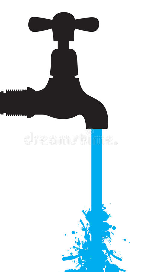 Download Water coming out a tap stock vector. Image of metal, outline - 12067228