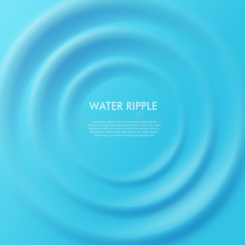 Free Water Concentric Ripple Square Banner Template, Realistic Vector Illustration. Royalty Free Stock Images - 184033939