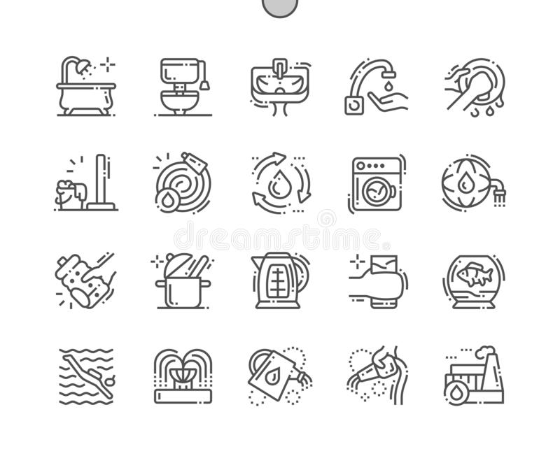 Water consumption Well-crafted Pixel Perfect Vector Thin Line Icons royalty free illustration