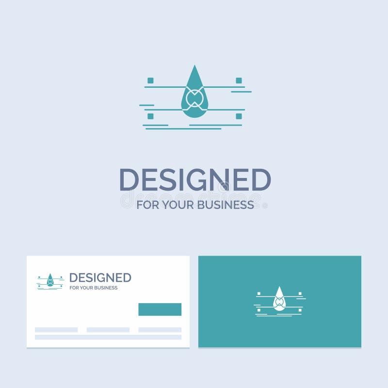 water, Controle, Schoon, Veiligheid, slimme stadszaken Logo Glyph Icon Symbol voor uw zaken Turkooise Visitekaartjes met royalty-vrije illustratie