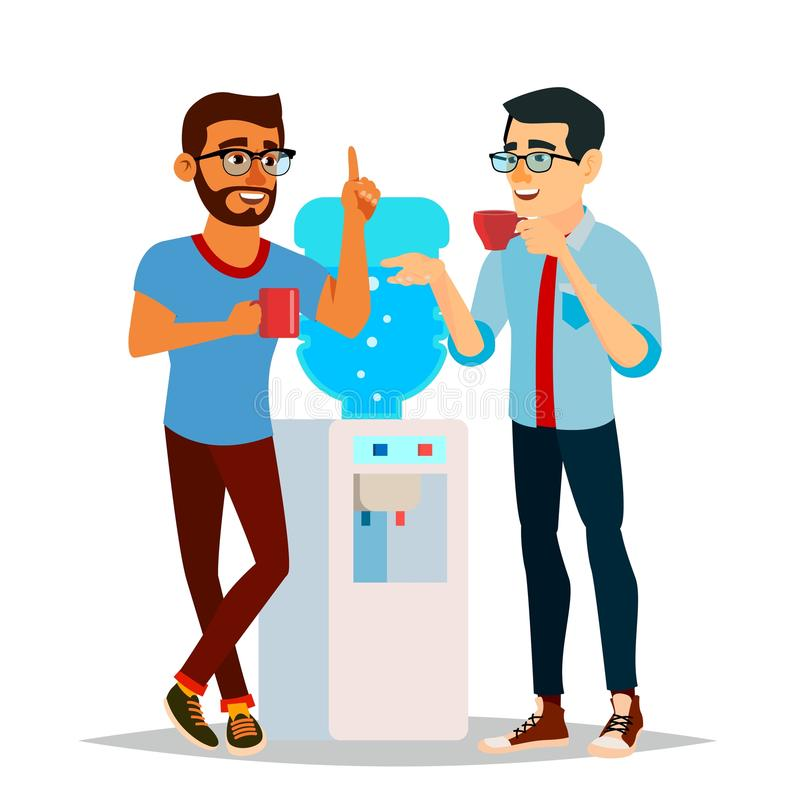 Water Cooler Gossip Vector. Modern Office Water Cooler. Laughing Friends, Office Colleagues Men Talking To Each Other stock illustration