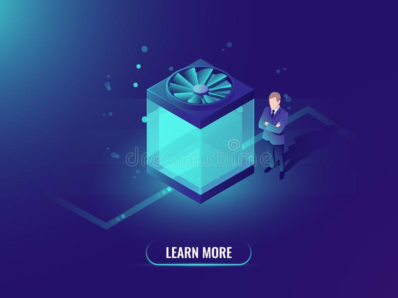 Water cooling computer concept, big data processing and cloud file storage, isometric technology cube, dark neon vector stock illustration