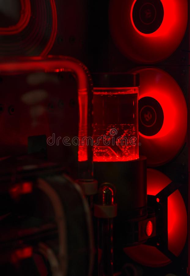 Water cooling pc system. Rel led illuminated royalty free stock images