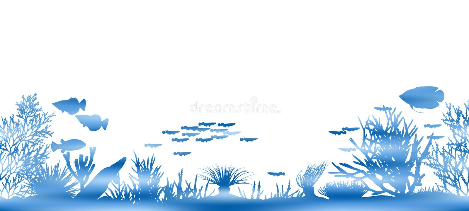 Water coral. Editable vector illustration of watery coral and fish made by masking a background color mesh royalty free illustration