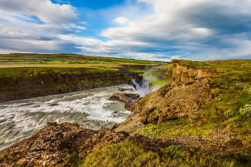 Water crash into a narrow gorge stock images