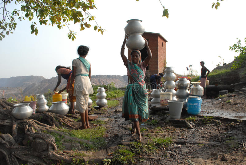 Water Crisis. In Jharia coalfield, the groundwater level is dependent mainly upon the presently existing topography, geomorphic features such as, abandoned stock image