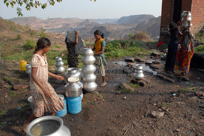 Water Crisis. In Jharia coalfield, the groundwater level is dependent mainly upon the presently existing topography, geomorphic features such as, abandoned royalty free stock image