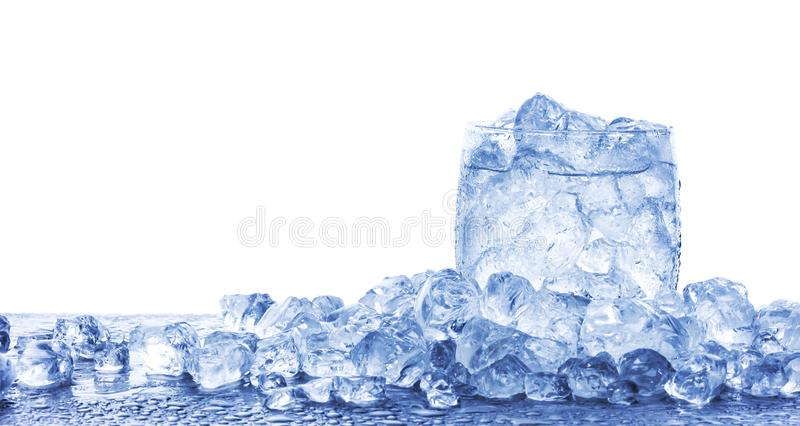 Water with crushed ice cubes in glass isolated on white background. With copy space royalty free stock photos