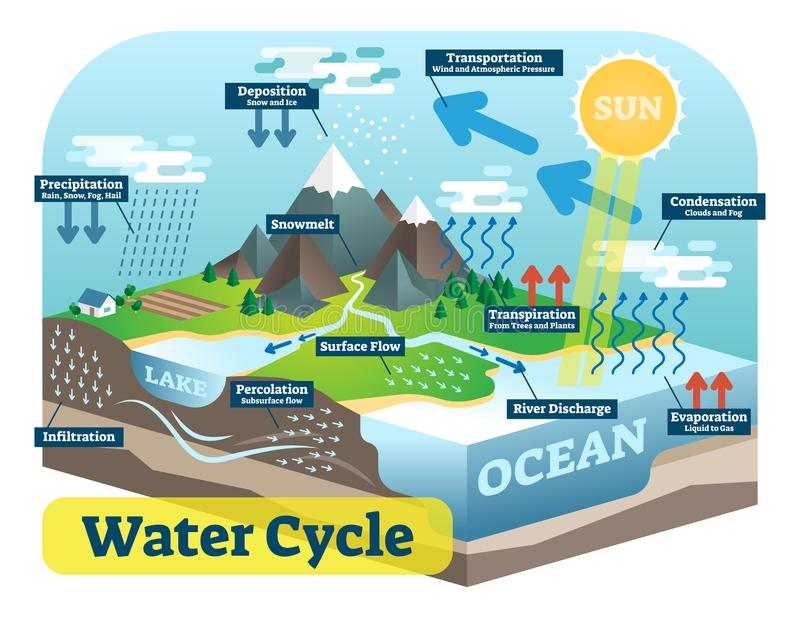 Water cycle graphic scheme, vector isometric illustration. Water cycle graphic scheme, vector isometric illustration with water bodies and geological relief stock illustration