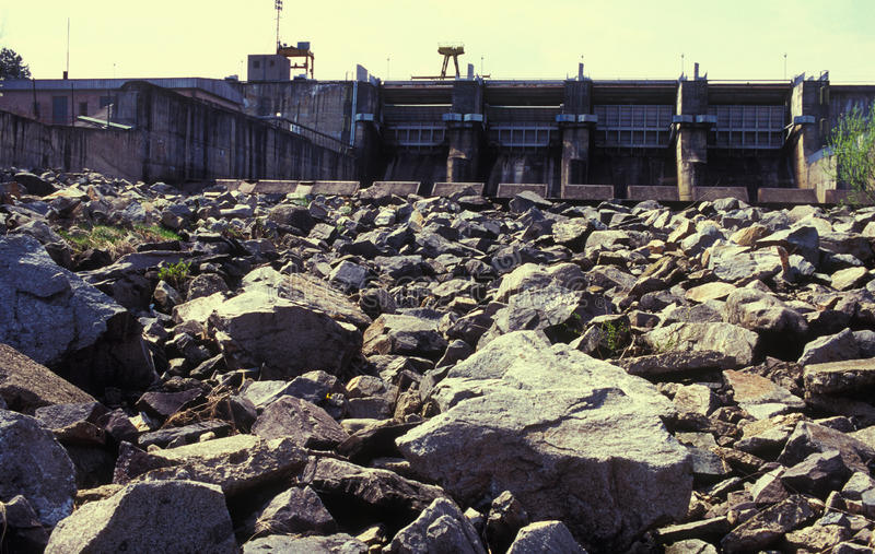 Water dam and dried rocks stock image
