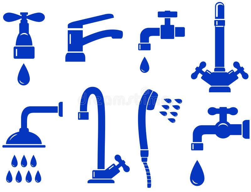 Water dat met geïsoleerdg tapkraanpictogram wordt geplaatst stock illustratie