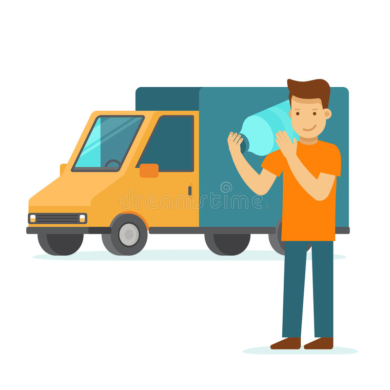 Water delivery concept - truck and friendly man with bottle royalty free illustration