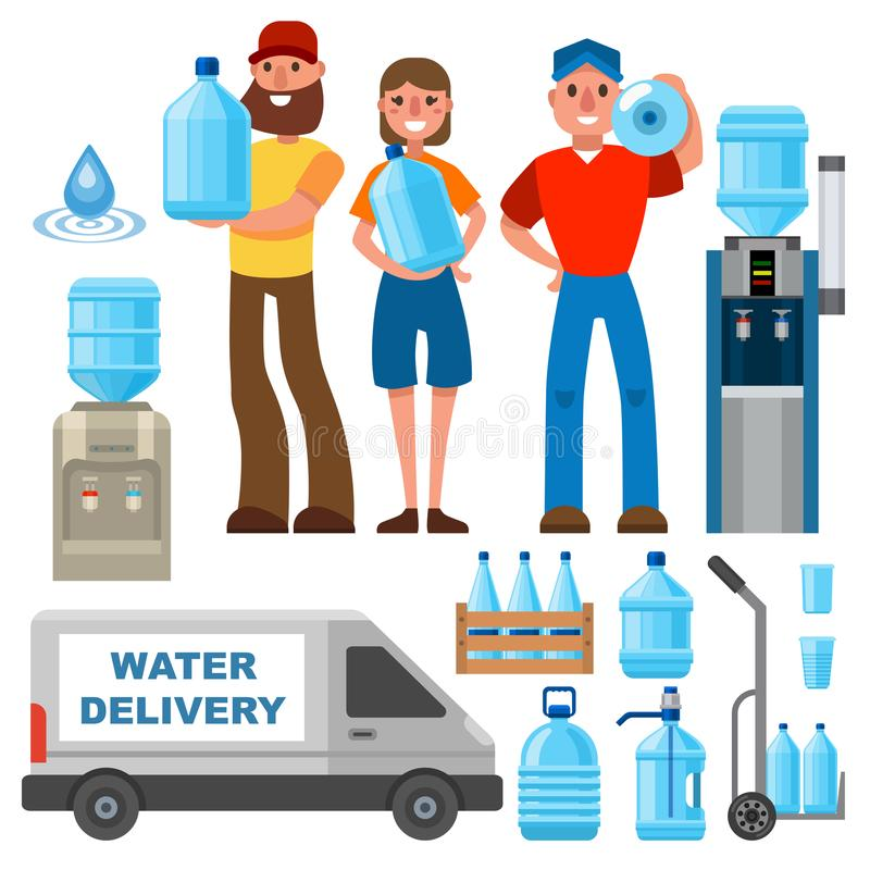 Water delivery service man character in uniform and different water bottle vector elements. stock illustration