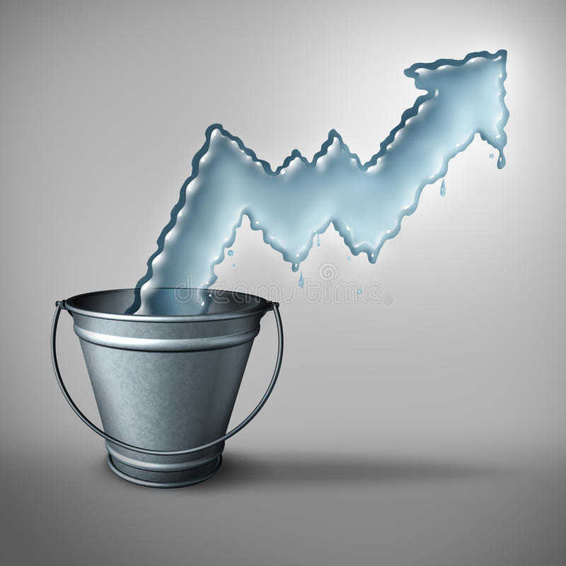Water Demand Concept. And clean drinking freshwater scarcity crisis as liquid shaped as a rising chart arrow emerging from a metal bucket as a symbol of limited vector illustration