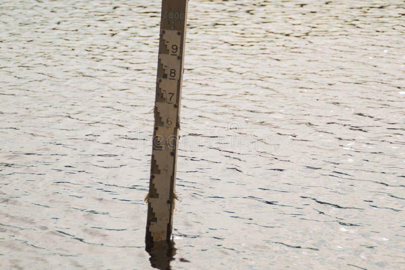 Water depth gauge. measurement level of water. Measuring scale, background, dam, detail, environment, environmental, flood, indicator, irrigation, lake, lines stock photo