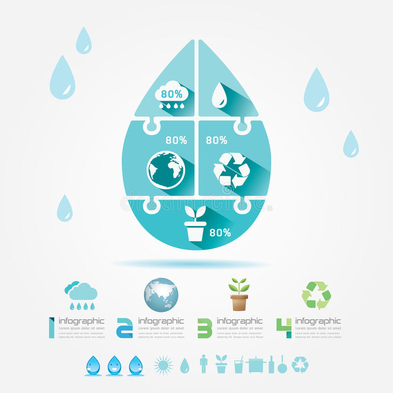 Water Design Elements Ecology Infographic Jigsaw Concept.Vector royalty free illustration