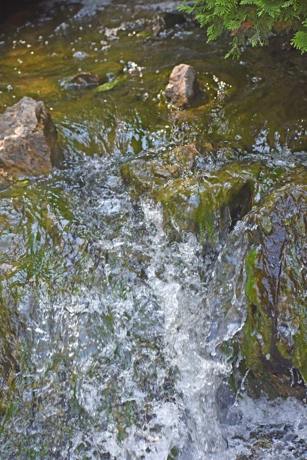 Water die stroomafwaarts van Waterval meeslepen royalty-vrije stock foto's
