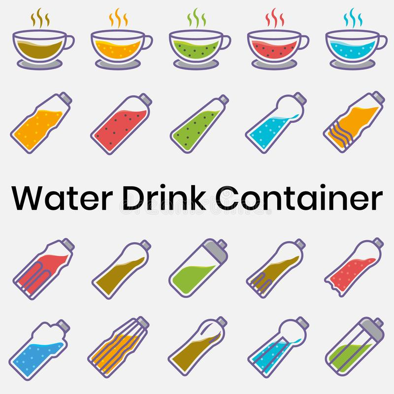 Water Drink Container, Icon Set of Bottle, Juice Water Cup. Alcohol, art, bar, beverage, bottles, cafes, cappuccino, cocktail, collection, design, draw royalty free illustration