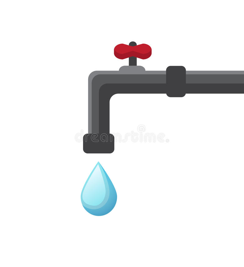 Water drips from the tap stock vector. Illustration of drinking ...