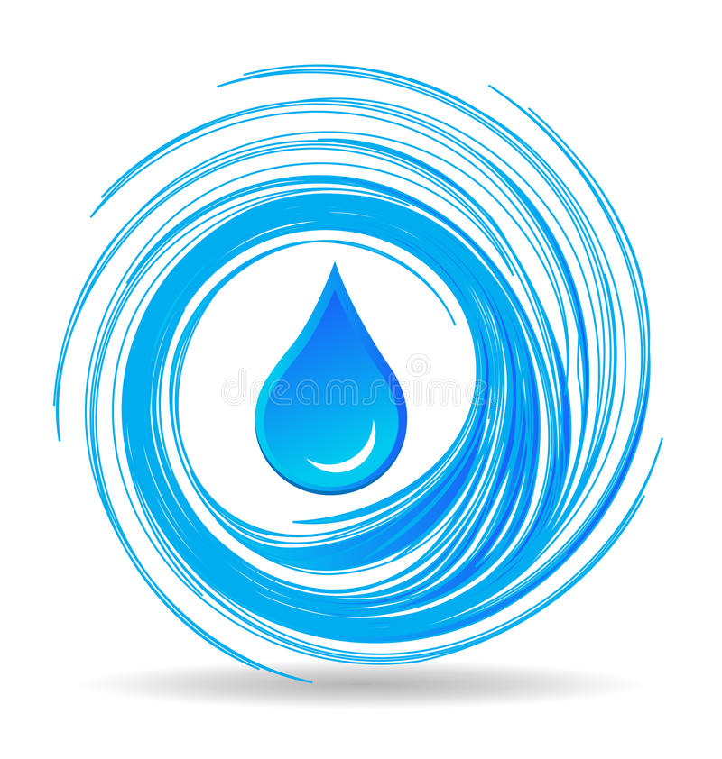 Water drop and blue waves stock illustration