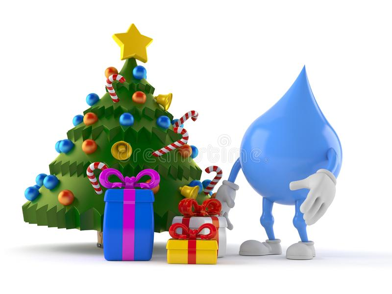 Water drop character with christmas tree and gifts vector illustration