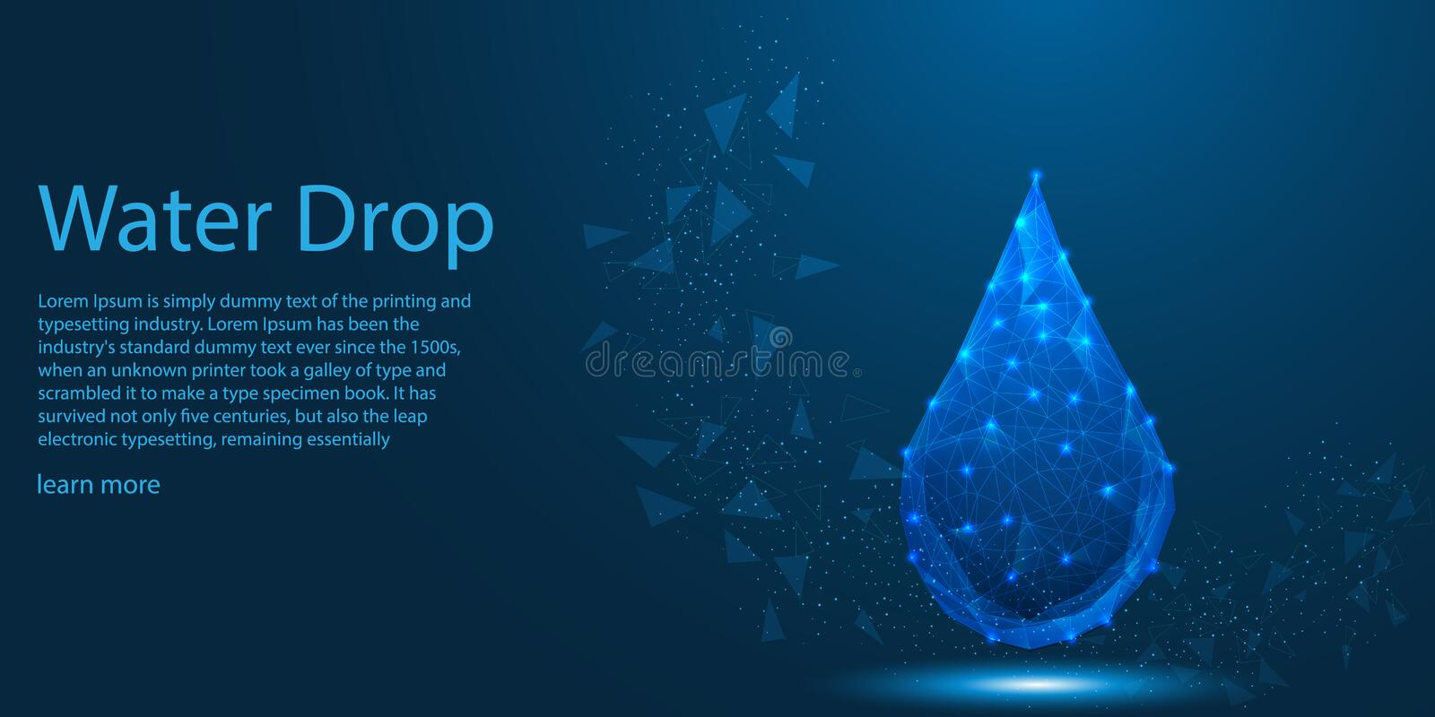 Water Drop and connection light lines, low poly Aqua Eco theme concept. vector illustration vector illustration