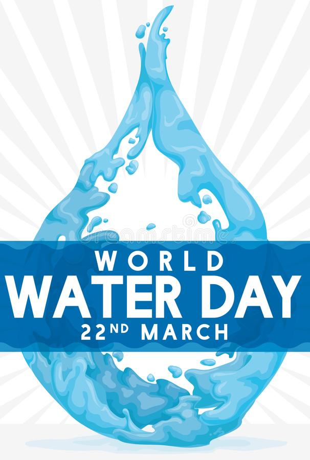 Water Drop Design to Commemorate World Water Day, Vector Illustration stock illustration