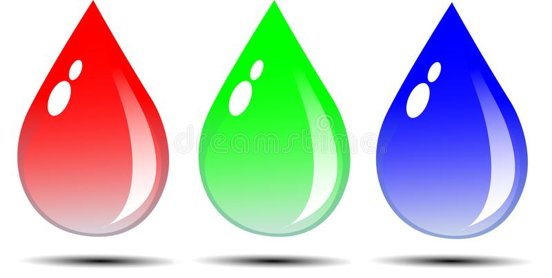 Water drop. Lets with red, green and blue give coolness and calmness stock illustration