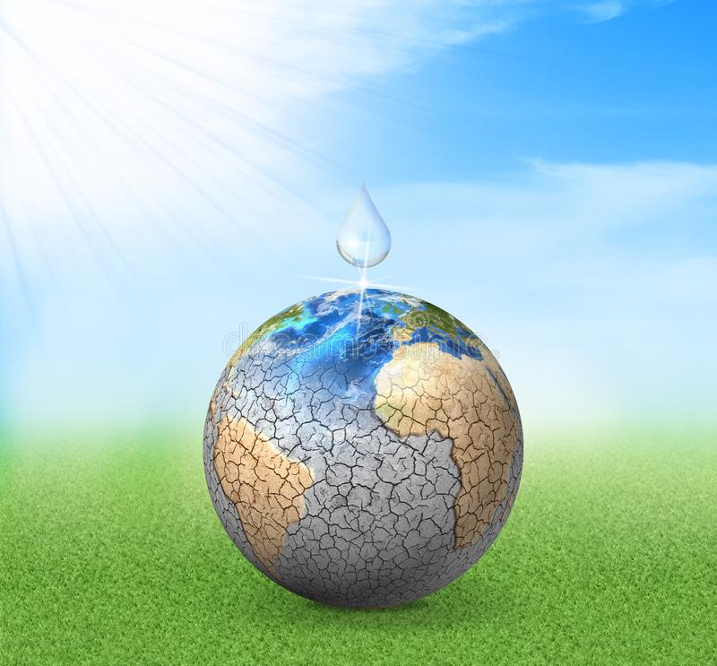 Water drop falls to dried planet. royalty free stock images