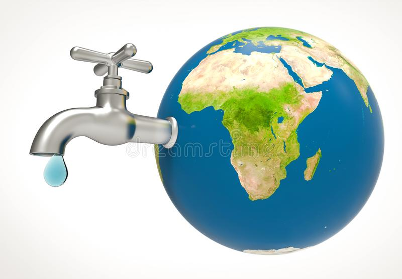 Water drop and faucet on planet earth. Water drop and faucet on blue planet earth map. Save Water concept. 3d illustration and rendering image vector illustration