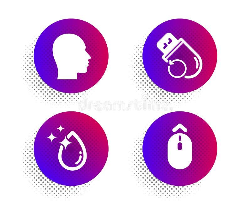 Water drop, Flash memory and Head icons set. Swipe up sign. Crystal aqua, Recovery usb, Human profile. Vector. Water drop, Flash memory and Head icons simple set vector illustration