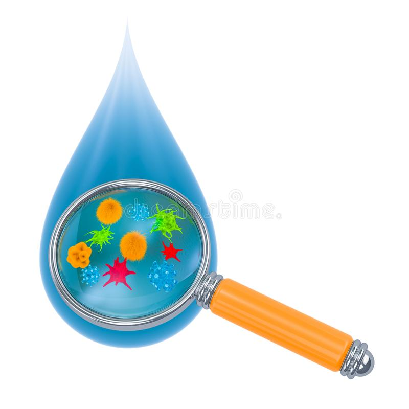 Water drop with germs and bacterias under magnifying glass. 3D rendering. Water drop with germs and bacterias under magnifying glass. 3D vector illustration