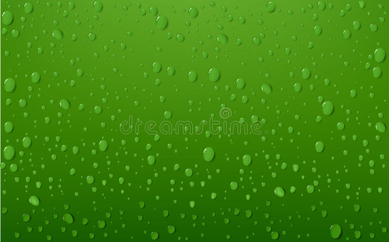 Water Drop On Green Background. Vector Illustration Of Water Drop On Green Background royalty free illustration