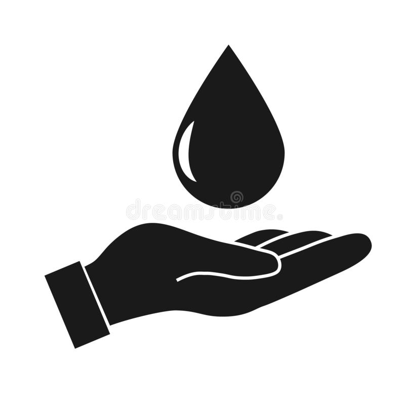 Water drop in hand. Protection vector icon on white background royalty free illustration