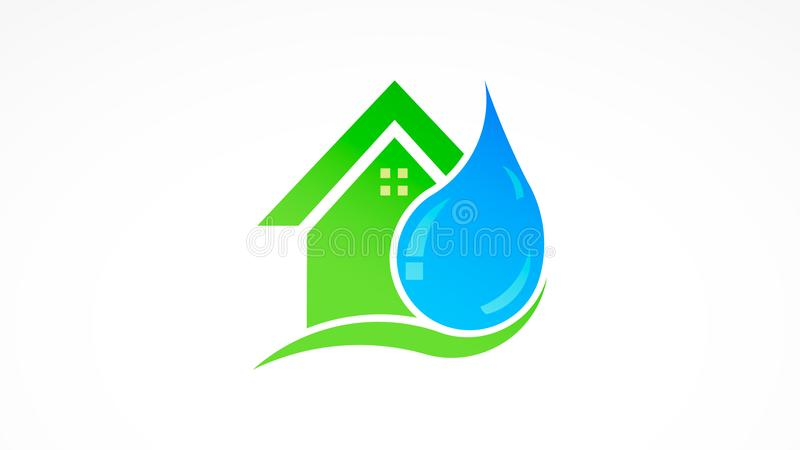 Water drop and house real estate logo vector illustration