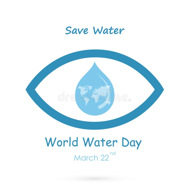 Water drop with human eye icon vector logo design template.World Water Day idea campaign for greeting card and poster. stock illustration