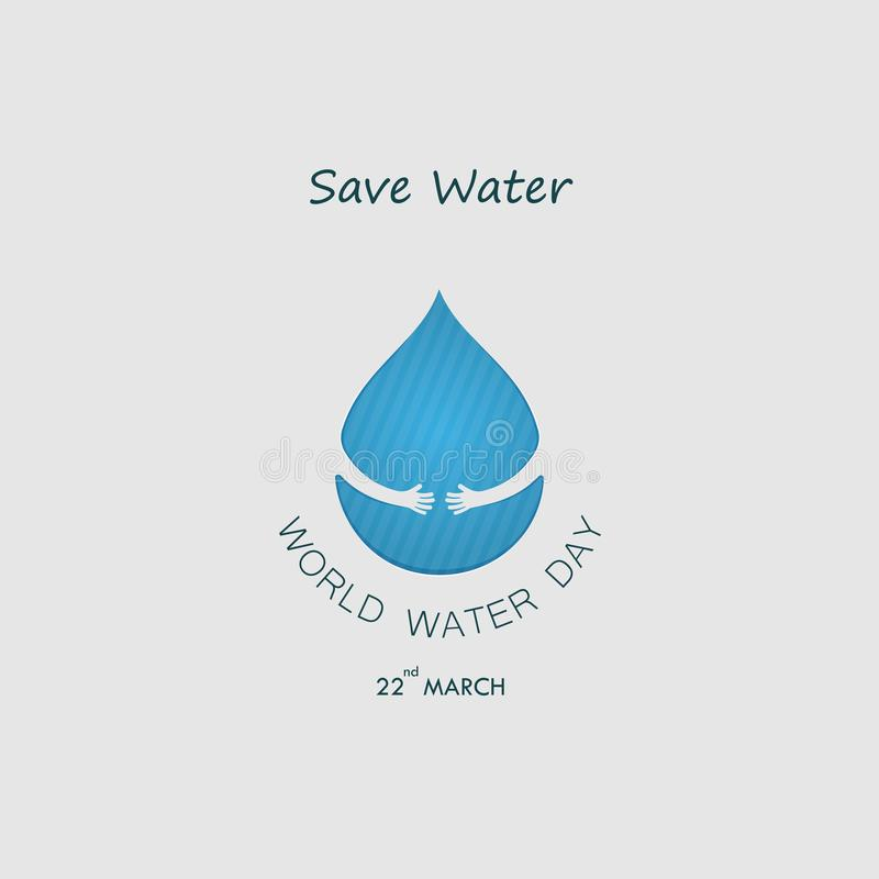 Water drop with human hand vector logo design template.World Water Day icon.World Water Day idea campaign for greeting card and p stock illustration